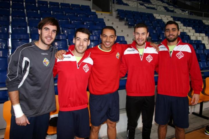 Carlos Barrón, Sergio, Attos, Paradynski y Tomaz en el entreno de hoy (Copiar)