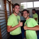 Carlos Barrón y Joselito, los dos internacionales con España, en el primer día de trabajo (Copiar)