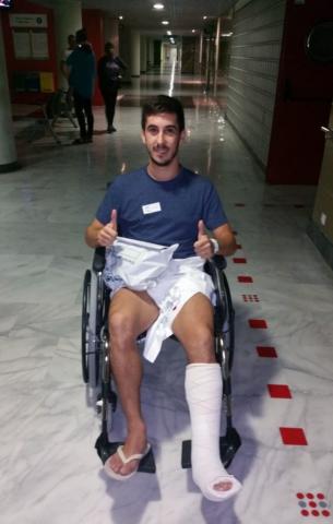 Joselito en el Hospital de Son Espases tras el partido ante el DLink Zaragoza (Copiar)