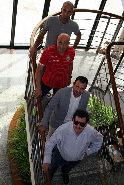Vadillo, Juanito, José Tirado y Miquel Jaume en la sede de Globalia (Copiar)