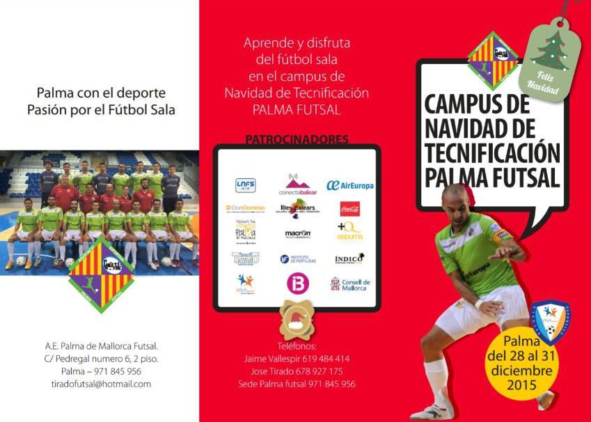 Tríptico del Campus de Navidad del Palma Futsal 1