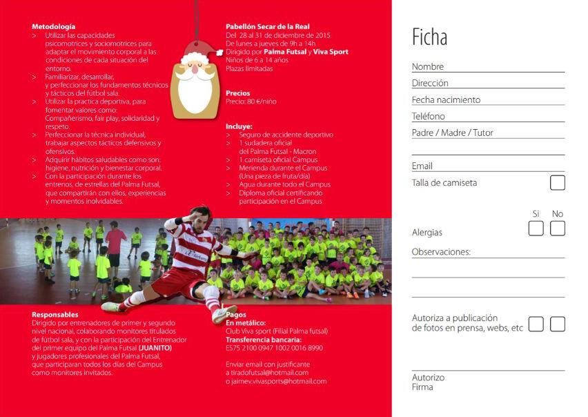 Tríptico del Campus de Navidad del Palma Futsal 2