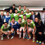 El Palma Futsal posa en el vestuario de Tudela tras la victoria