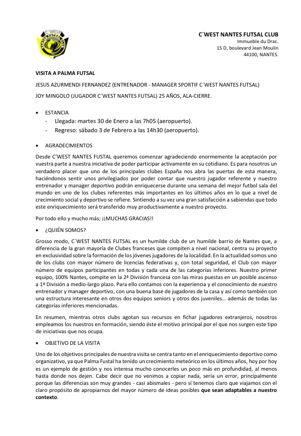 Carta de agradecimiento del CWest Nantes Futsal