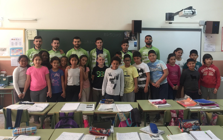 Nunes, Claudino, Nico Sarmiento, Pazos, Eloy y Joselito visitaron el CP Felip Bauçà 2